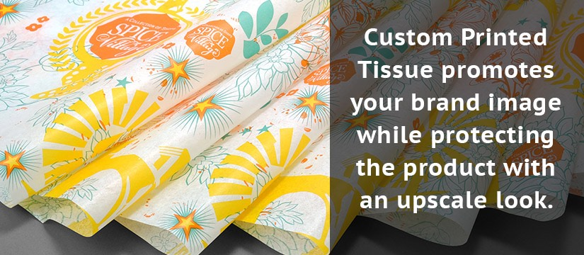 Custom Printed Tissue promotes your brand image while protecting the product with an upscale look for branding package.